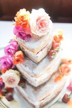 Naked Heart Cake with Flowers http://www.vivaweddingphotography.com/