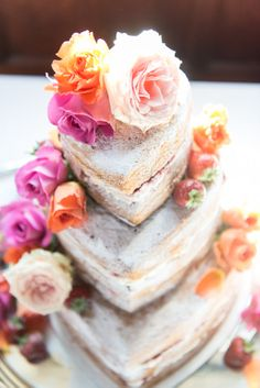 Naked Heart Cake with Flowers   http://www.vivaweddingphotography.com/