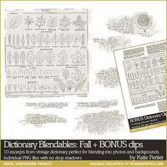 * Dictionary Blendables: Fall - Digital Scrapbooking Elements