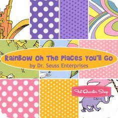 Rainbow Oh The Places You'll Go Fat Quarter Bundle Dr. Seuss Enterprises for Robert Kaufman Fabrics - Fat Quarter Shop