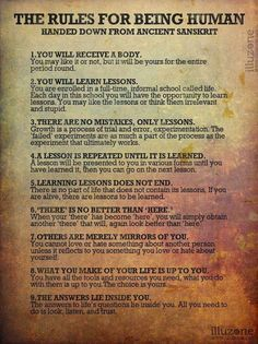 The Rules for Being A Human (Handed down from ancient Sanskrit)
