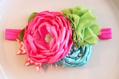 Neon pink lime and turquoise chevron by JensBowdaciousBows on Etsy