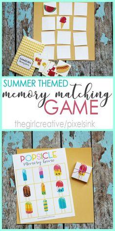 Printable Summer Themed Memory Matching Game - Summer Activities | Boredom Busters | Preschool Activities | Homeschooling Aids