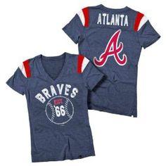 Atlanta #Braves Navy Women's Tri-Blend V-Neck Raglan T-Shirt
