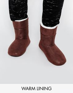 ASOS+Slipper+Boots+in+Brown+With+Faux+Shearling+Lining