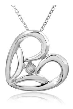 Amazon.com: Jessica Simpson Fashion Collection Sterling Silver Diamond Accented Heart Pendant (.02 cttw, Color IJ, Clarity I2-I3): Jessica Simpson: Jewelry