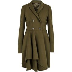 Womens Long Coats Alexander McQueen Olive Ruffle-hem Wool Blend Coat (44.142.485 IDR) ❤ liked on Polyvore featuring outerwear, coats, olive coat, wool blend double breasted coat, army green coat, brown coat e wool blend coat