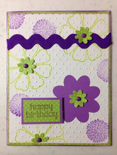 Happy Birthday!   Background stamped: The Stamps if Life: thanks4oneyear & moremums2love. Sizzix Stephanie Barnard Framelits Die: Flower Layers & Leaf Cuttlebug Embossing Folder: Swiss Dots