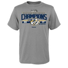 Nashville Predators Reebok Youth 2017 Western Conference Champions Locker Room T-Shirt - Heathered Gray - $19.99