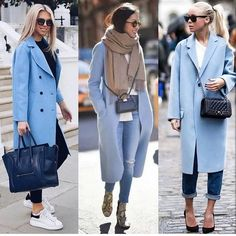 "Fashion Times pe Instagram: ""Left, Center or Right? 💙 via @streetstyle__daily"" Vogue Fashion, Look Fashion, Fashion Outfits, Womens Fashion, Fashion Clothes, Elegance Fashion, Luxury Fashion, Fashion Tips, Winter Coat Outfits"