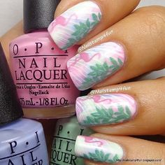 Flamingo nails Credit to @nailstamp4fun (http://ift.tt/1yg0QJb)