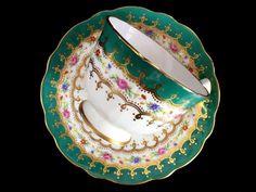 Aynsley Tea Cup and Saucer, Crocus Shape Teacup, Made in England