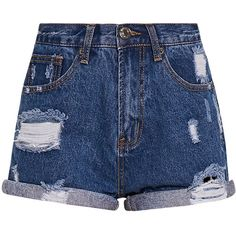 Camilla Blue High Waisted Ripped Denim Shorts ($29) ❤ liked on Polyvore featuring shorts, bottoms, pants, short, denim short shorts, destroyed denim shorts, high-waisted jean shorts, distressed jean shorts and denim shorts