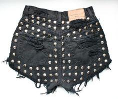 Black High Waisted Vintage Denim Shorts Studded by todyefordenim