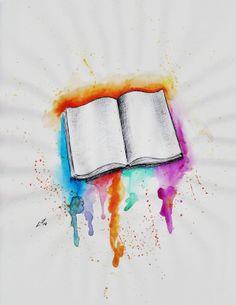 book, tattoo, aquarela