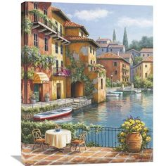 "Global Gallery 'Cafe At The Canal' by Sung Kim Painting Print on Wrapped Canvas Size: 35"" H x 28"" W x 1.5"" D"