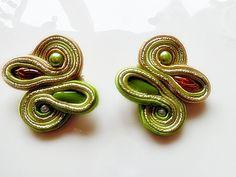 Soutache earrings acid green ear post summer