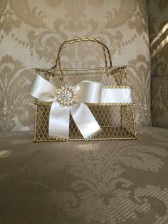 gold  flower girl basket purse with ivory by TheCrystalFlower