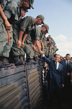 Nixon Visits US Troops in South Vietnam --- Image by © Bettmann/CORBIS.  #VietnamWarMemories.
