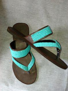NEW Azure - African Kenyan Real Leather Handmade Beaded Sandals, Flip-flops, Thongs