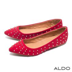 ALDO 華麗狂潮麂皮個性金屬鉚釘尖頭平底鞋~寶石紅 - Yahoo!奇摩購物中心 $990