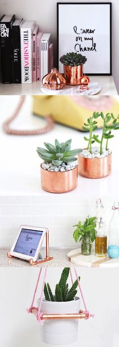 Copper everything! 20 Modern Apartment DIYs to Give Your Space a New Look, small space decor ideas, modern decor ideas