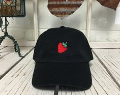 Strawberry Dad Hat, Hipster Baseball hat, Trending Hats Tumblr Fashion, hipster Embroidery Fruit Baseball Cap Low Profile Curved Bill, Black