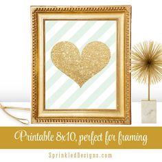 Gold Glitter Heart Pale Mint Green Stripes - Printable 8x10 Sign Makeup Vanity Girl Room Bedroom Decorations Dorm Room Art Decor