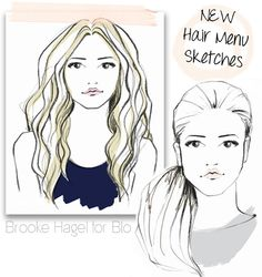 Brooke Hagel: Dry Bar Hair Menu #Sketches #FashionIllustration