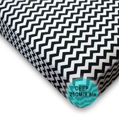 Fitted Sheet 100% Cotton Monochrome Black & White Zig Zag Single Bed Size