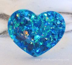 Deep Turquoise Opalescent Resin Heart Ring Frozen by GlitterFusion