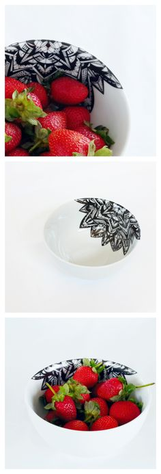 These beautiful bowls are part of a limited edition created by a South African artisan, Ashleigh, with three in this collection. It features a modern black kaleidoscope design that is folded over the edge of the bowl. The Black Kaleidoscope Snack Bowl is perfect for snacks, appetizers, soups, breakfasts, noodles. www.noteworthygirl.com Handmade Clutch, Snack Bowls, Noodles, Soups, Brunch, Strawberry, Appetizers, Artisan, Snacks