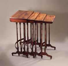 FINE George III ROSEWOOD & Mahogany Quartetto Nest of Tables England, c1810, In the Manner of George Smith (1808)* FOR SALE * Click to view alternate views and read the history.