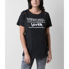 Prince Peter Weekend Lover T-Shirt ($33) ❤ liked on Polyvore featuring tops, t-shirts, black, ripped tee, graphic design t shirts, graphic print t shirts, distressed t shirt and distressed tee