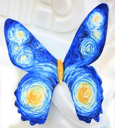 Eye Candy Sugar makes hand painted art inspired edible butterflies! So gorgeous with Van Gogh's Starry Night!