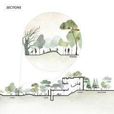 Landscape Architecture Section, Architecture Concept Diagram, Architecture Graphics, Landscape Architecture Perspective, Architecture Diagrams, Acrylic Landscape, Landscape Diagram, Doodle Drawing, Architecture Visualization