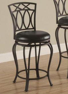 """Bar Stool New Casual Black 24"""" Modern Kitchen Chair Pub Height Faux Leather Seat #BarStool"""