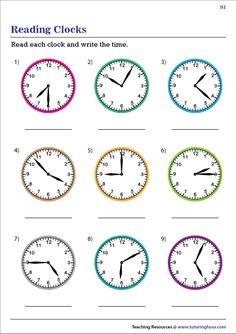 Time Worksheets Grade 2, Clock Worksheets, Free Printable Alphabet Worksheets, Money Worksheets, Kids Math Worksheets, Reading Worksheets, English Teaching Materials, 2nd Grade Math, Second Grade