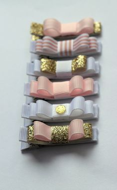 """Set of six Belle's Bows """" Pure Glamour """" hair bows. Gold , soft pink and whites. With a hint of sparkle and Glam.  Princess, Girl hair bows. on Etsy, $22.08"""