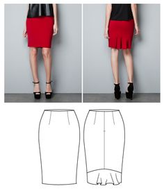 Technical Flat Drawing of a Skirt (Yan Xin)