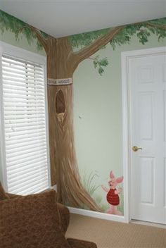 Winnie the Pooh themed room. Piglet and the honey tree in 1,000 acres woods.