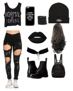 """emo girl outfit"" by agrace3456 ❤ liked on Polyvore featuring Dr. Martens, Vans, Boohoo, Casetify, Lime Crime and STELLA McCARTNEY"