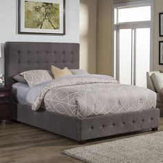 Alpine Furniture Alma Upholstered Panel Bed