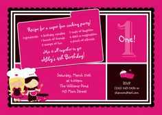 Chef Cooking Girl II Birthday Invitation
