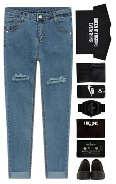"""Blacckkkkkk"" by puhizaxox ❤ liked on Polyvore featuring Monki, Casetify, adidas Originals, Givenchy, CASSETTE, Underground, black and jeans"