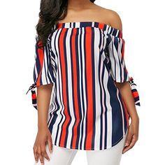 f5bb4f087040 Clearance Sale! Womens Shirts, Jiayit Fashion Womens Casual Off Shoulder  Bandage Stripe Printed Tops