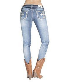 Loving this Light Blue Stonewash Maltese Skinny Jeans on #zulily! #zulilyfinds