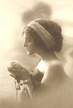 vintage lady with rose