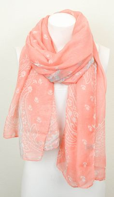 Coral & Gray Paisley Scarf