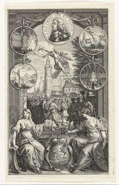 Simon Fokke | Allegorie op de verheffing van Willem IV tot stadhouder, 1747, Simon Fokke, 1747 | Door een poort is een plechtige bijeenkomst op het Binnenhof te zien. In de lucht vliegt een engel met lauwerkrans en bazuin met de tekst: Vivat Oranye. Voor de poort hangen links en rechts van het portret van Willem IV boven elkaar medaillons met afbeeldingen van historische gebeurtenissen. Op de voorgrond wordt het wapen van Oranje-Nassau geflankeerd door Minerva met een tak oranjeappels en een…